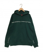SUPREME()の古着「TEXT STRIPE HOODED SWEAT SHIRT」|グリーン