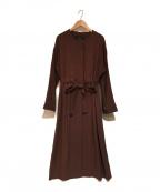 Liesse(リエス)の古着「ウエストギャザーノーカラーコート」|ブラウン
