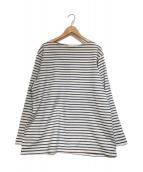 COMOLI(コモリ)の古着「バスクシャツ」|ブルーホワイト