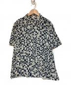 mina perhonen(ミナ ペルホネン)の古着「hutte開襟シャツ」|ブルー×ホワイト
