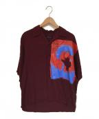 ALMOSTBLACK(オールモストブラック)の古着「オープンカラーシャツ」 ボルドー