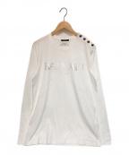 BALMAIN(バルマン)の古着「フロントロゴロングスリーブカットソー」 ホワイト