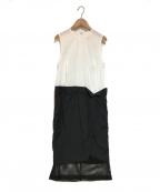 TOGA PULLA(トーガプルラ)の古着「ノースリーブワンピース」 ブラック×ホワイト