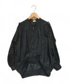 ELIN(エリン)の古着「カットワークボンバージャケット」|ブラック