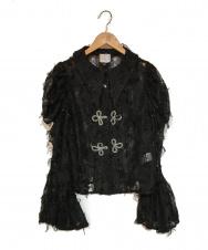 MUKZIN (ムクジン) レースチャイナシャツ ブラック サイズ:M