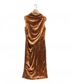 EPOCA(エポカ)の古着「ベロアノースリーブワンピース」|オレンジ
