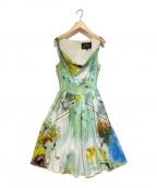 Vivienne Westwood ANGLOMANIA(ヴィヴィアンウエストウッド アングロマニア)の古着「ジップデザインノースリーブワンピース」|グリーン×ホワイト