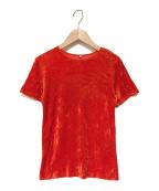 BASERANGE(ベースレンジ)の古着「ベロアTシャツ」|オレンジ