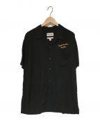 DOUBLE RAINBOUU(ダブルレインボー)の古着「刺繍オープンカラーシャツ」|ブラック
