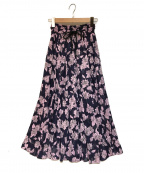 OBLI(オブリ)の古着「フラワーギャザースカート」 ネイビー×ピンク