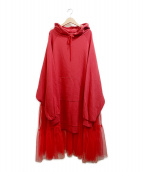 Candy Stripper(キャンディーストリッパー)の古着「SIDE TULLE SWITCHED HOODIEワンピー」|レッド