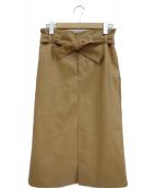 Edition(エディション)の古着「エコレザーベルテッドスカート」|ブラウン