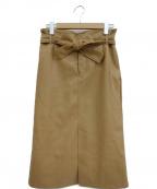 edition(エディッション)の古着「エコレザーベルテッドスカート」|ブラウン