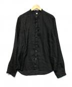 C.P COMPANY(シーピーカンパニー)の古着「バンドカラーリネンシャツ」|ブラック