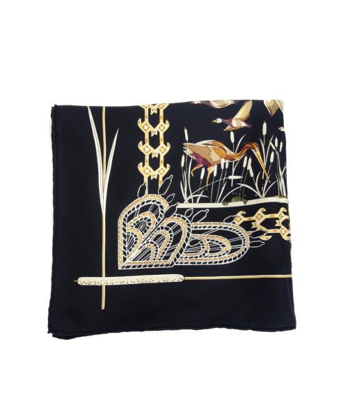 HERMES(エルメス)HERMES (エルメス) シルクスカーフ ブラック カレ90 LIBRES COMME LAIR 空は自由の古着・服飾アイテム