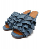 CHIE MIHARA(チエミハラ)の古着「フリルサボサンダル」|ブルー