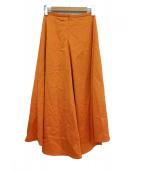 VERMEIL(ヴェルメイユ)の古着「レーヨンサテンフレアスカート」 オレンジ