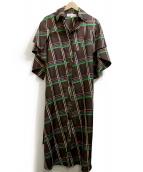 AKIRA NAKA(アキラ ナカ)の古着「オリジナルプリントチェックワンピース」|ブラウン