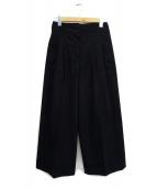 CELINE(セリーヌ)の古着「プリーツワイドパンツ」 ブラック