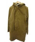 STEPHAN SCHNEIDER(ステファン・シュナイダー)の古着「レイヤードフーデッドコート」|ブラウン