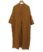 Salvatore Piccolo(サルヴァトーレ・ピッコロ)の古着「リネンドロップショルダーワンピース」|ブラウン