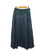 muller of yoshiokubo(ミュラーオブヨシオクボ)の古着「アシンメトリーフレアプリーツスカート」|グリーン