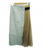TELA(テラ)の古着「切替スカート」|グリーン×ベージュ