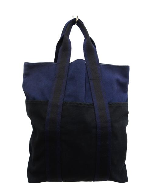 HERMES(エルメス)HERMES (エルメス) キャンバストートバッグ ネイビー×ブラック フールトゥカバスの古着・服飾アイテム