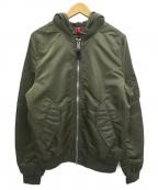 ALPHA INDUSTRIES(アルファインダストリーズ)の古着「フード付MA-1ジャケット」|オリーブ