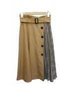 JUSGLITTY(ジャスグリッティー)の古着「プリーツアシメフレアスカート」|ブラウン