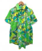 NARA CAMICIE(ナラカミーチェ)の古着「グラフィカルフラワープリントテントライン半袖シャツ」 グリーン