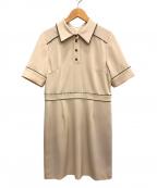 Lily Brown(リリーブラウン)の古着「襟付きパイピングミニワンピ」 ベージュ