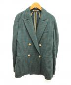 CABAN(キャバン)の古着「コットンカシミヤチェックダブルブレストジャケット」 ブラウン×グリーン