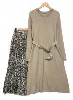 Mila Owen(ミラオーウェン)の古着「スカートレイヤードニットワンピース」|ブラウン