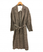 1er Arrondissement(プルミエ アロンディスモン)の古着「リネンガウンチェックコート」|ブラウン