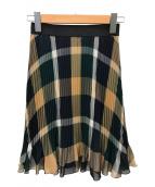 BLUE LABEL CRESTBRIDGE(ブルーレーベルクレストブリッジ)の古着「エレガントシフォンプリーツスカート」|グリーン×ブラウン