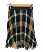 BLUE LABEL CRESTBRIDGE()の古着「エレガントシフォンプリーツスカート」|グリーン×ブラウン