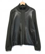 EMPORIO ARMANI(エンポリオアルマーニ)の古着「レザー切替ニットブルゾン」|ブラック×グリーン