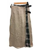 ONEIL OF DUBLIN(オニールオブダブリン)の古着「リネンパッチワークマキシスカート」|ベージュ×グリーン