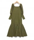 Lily Brown(リリーブラウン)の古着「異素材切替ニットワンピース」 グリーン