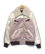COACH(コーチ)の古着「襟ボア スパンコール ダウンスタジャン」|ピンク×アイボリー