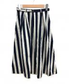 GRANDMA MAMA DAUGHTER()の古着「7ozデニムストライプスカート」|ホワイト×ブルー