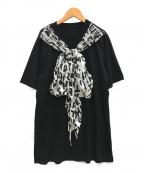 MM6 Maison Margiela(エムエムシックス メゾン マルジェラ)の古着「スカーフタイジャージーTシャツ」 ブラック