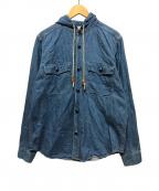 orSlow()の古着「フーデッドデニムシャツ」|ブルー