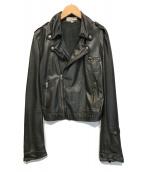 ()の古着「ダブルライダースラムレザージャケット」|ブラック