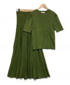Mila Owen(ミラオーウェン)の古着「オーガニックコットン半袖リブ×フレアリブスカート」 グリーン