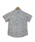 SASSAFRAS(ササフラス)の古着「半袖ヒッコリーシャツ」 ホワイト×ブルー