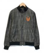 lucien pellat-finet(ルシアン・ペラフィネ)の古着「スカル刺繍ジップアップデニムジャケット」|グレー