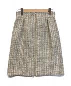 ()の古着「ツイードタイトスカート」 ベージュ