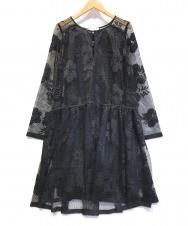 SEE BY CHLOE (シーバイクロエ) フローラル刺繍メッシュワンピース ブラック サイズ:36